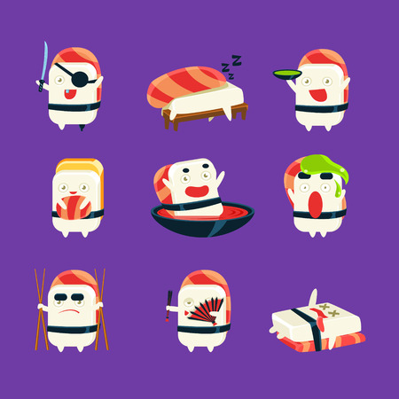 funny creature: Humanized Sushi Character Japan Themed Activities. Set Of Silly Childish Drawings Isolated On Dark Background. Funny Creature Colorful Vector Stickers Set.