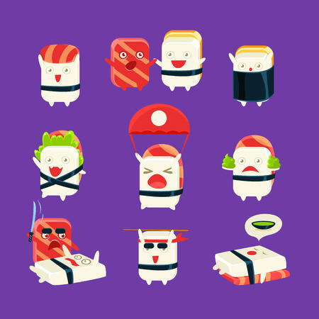 kamikaze: Funny Sushi Man Different Activities. Set Of Silly Childish Drawings Isolated On Dark Background. Funny Creature Colorful Vector Stickers Set. Illustration