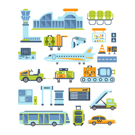 tableau: Airport Related Illustration Collection Of Simplified Flat Cartoon Style Vector Stickers Isolated On White Background Illustration
