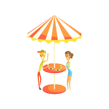 Coffee Shop Cafe Outdoors Table With Couple Having Lunch Cool Colorful Vector Illustration In Stylized Geometric Cartoon Design Illustration