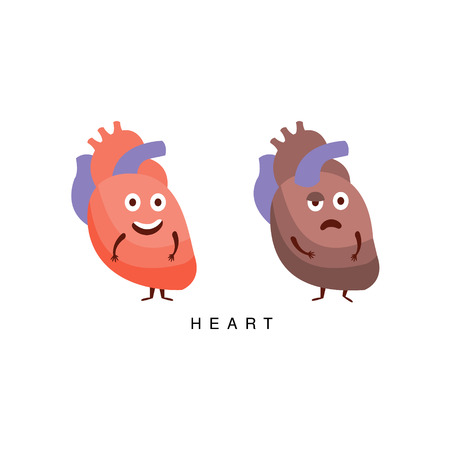 Healthy vs Unhealthy Heart Infographic Illustration.Humanized Human Organs Childish Cartoon Characters On White Background Illustration