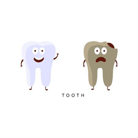 insides: Healthy vs Unhealthy Tooth Infographic Illustration.Humanized Human Organs Childish Cartoon Characters On White Background