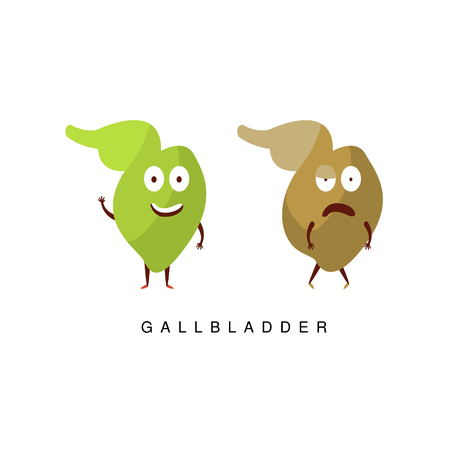insides: Healthy vs Unhealthy Gallbladder Infographic Illustration.Humanized Human Organs Childish Cartoon Characters On White Background Illustration