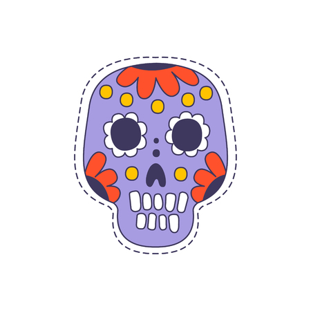 patch of light: Mexican Painted Skull Bright Hipster Sticker With Outlined Border In Childish Style