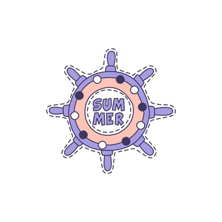 Ship Stirring Wheel Bright Hipster Sticker With Outlined Border In Childish Style