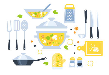 mushroom soup: Soup Preparation Set Of Utensils Illustration. Flat Primitive Graphic Style Collection Of Cooking Items And Vegetables On White Background. Illustration