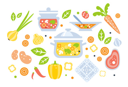 Soup Preparation Set Of Ingredients Illustration. Flat Primitive Graphic Style Collection Of Cooking Items And Vegetables On White Background.