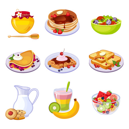 Different Breakfast Dishes Assortment Set Of Isolated Icons. Simple Realistic Flat Vector Colorful Drawings On White Background.