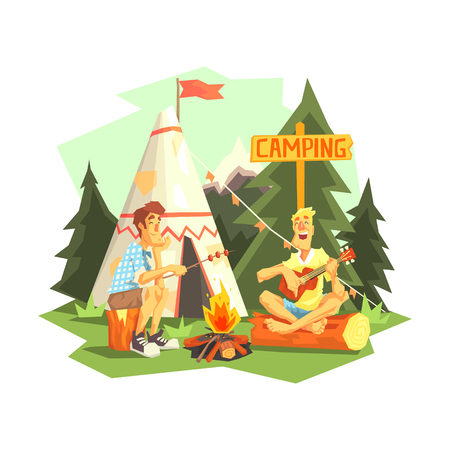 coking: Two Guys Enjoying Camping In Forest. Cool Colorful Vector Illustration In Stylized Geometric Cartoon Design On White Background