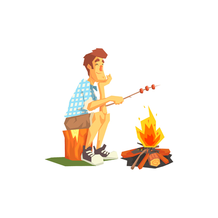 coking: Guy Frying Meat On Camp Bonfire. Cool Colorful Vector Illustration In Stylized Geometric Cartoon Design On White Background