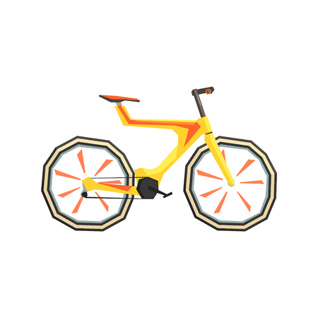 futurictic: Futurictic Design Yellow Bicycle. Cool Colorful Vector Illustration In Stylized Geometric Cartoon Design On White Background Illustration