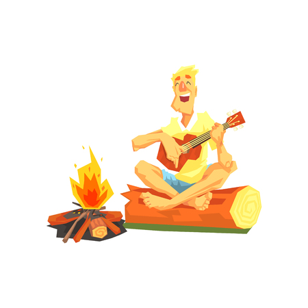 guy playing guitar: Guy Playing Guitar Sitting On A Log Next To Bonfire. Cool Colorful Vector Illustration In Stylized Geometric Cartoon Design On White Background Illustration