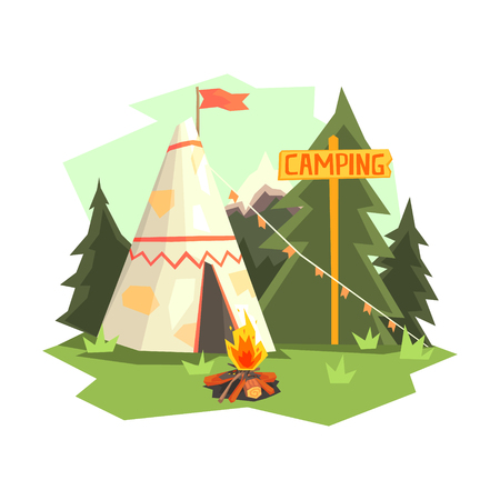 Camping Place With Bonfire, Wigwam And Forest. Cool Colorful Vector Illustration In Stylized Geometric Cartoon Design On White Background Illustration