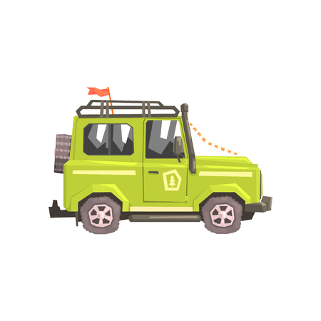 Green suv Safari Car. Cool Colorful Vector Illustration In Stylized Geometric Cartoon Design On White Background