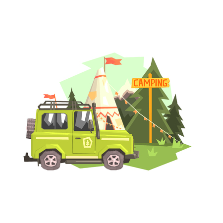 Green suv Parked Nest To The Camp Site. Cool Colorful Vector Illustration In Stylized Geometric Cartoon Design On White Background