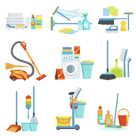 Conjuntos de limpieza Artículos domésticos. Limpiar objetos especiales y productos químicos composiciones Colección De Objetos realistas. Dibujos planos vectorial sobre fondo blanco Ilustración de vector