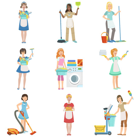 cleaning up: Hotel Professional Maids With Cleaning Equipment Set Of Illustrations. Cleaning Ladies Tiding Up With Special Inventory Simple Flat Vector Drawings.