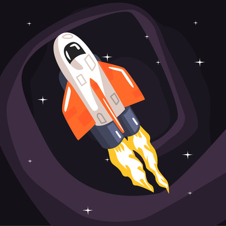 spacecraft: Flying Shuttle Spacecraft Fith Flames Coming From Engine On Dark Night Sky Background. Cool Colorful Cosmic Fantasy Vector Illustration In Stylized Geometric Cartoon Design Illustration