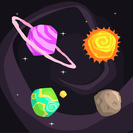 Solar System Planets Including Sun, Earth, Jupiter And Pluto On Dark Night Sky Background. Cool Colorful Cosmic Fantasy Vector Illustration In Stylized Geometric Cartoon Design