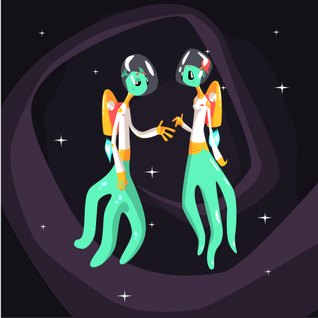 beings: Two Green Extraterrestrial Beings In Space Suits On Dark Night Sky Background. Cool Colorful Cosmic Fantasy Vector Illustration In Stylized Geometric Cartoon Design
