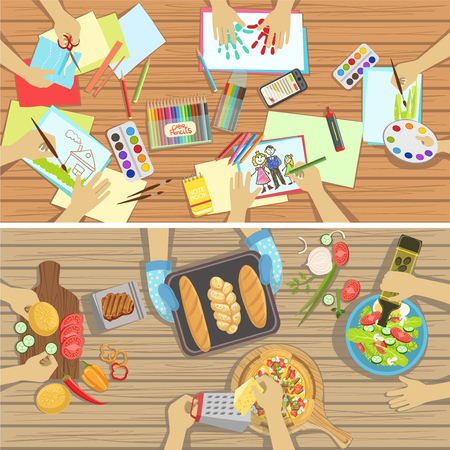 children only: Children Craft And Cooking Lesson Two Illustrations With Only Hands Visible From Above The Table. Kids In Art Class Working In Teams Colorful Cartoon Cute Vector Pictures.