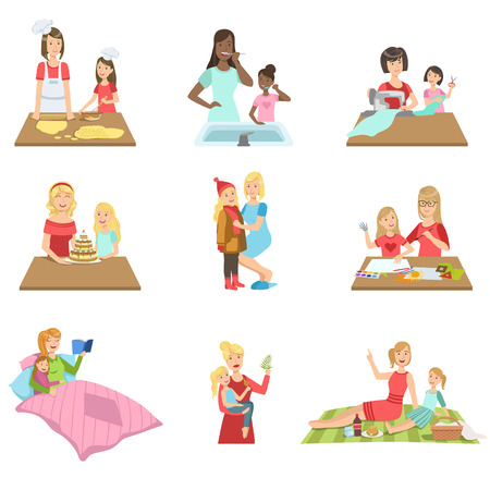 the passing of time: Mother And Daughter Passing Time Together Set Of Illustrations. Cute Simple Cartoon Style Drawings Of Single Mom And Her Kid Pastime.