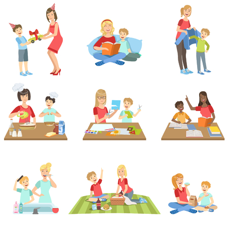 single mother: Mother And Son Passing Time Together Set Of Illustrations. Cute Simple Cartoon Style Drawings Of Single Mom And Her Kid Pastime.