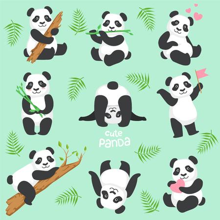 다른 상황에서 귀여운 팬더 문자를 설정합니다. 빛 배경에 여자 스타일에서 인간형 된 동물 아이콘 만화. 일러스트