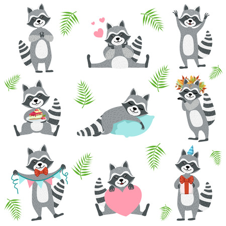 girly: Cute Raccoon Character In Different Situations Set. Cartoon Humanized Animal Icons In Girly Style On Whight Background. Illustration