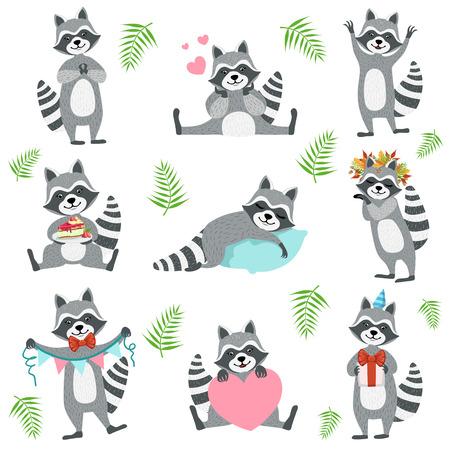 Schattig wasbeerkarakter In verschillende situaties ingesteld. Cartoon gehumaniseerd dier pictogrammen in Girly stijl op achtergrond achtergrond.