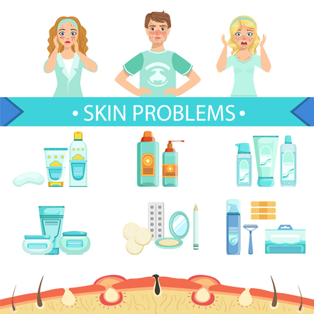 Dermatological Problems Infographic Medical Poster. Cartoon Style Healthcare Acne Issue Info Illustration. Flat Vector Simplified Illustration On White Background. Illustration