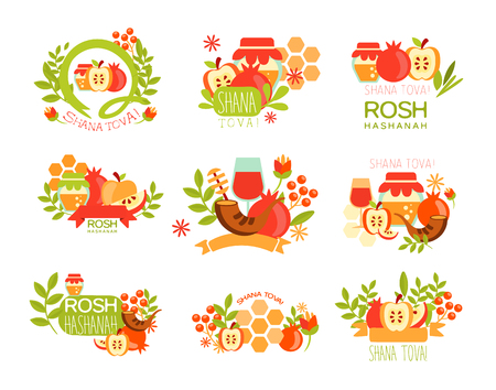 Rosh Hashanah Bright Postcard Labels Set Of Designs. Colorful Simple Holiday Collection With Traditional Symbols And Hebrew Text. Illustration
