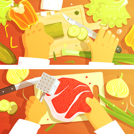 Cooking Of Salad And Steak Two Bright Color Illustrations. Hands Working On Food Preparation View From Above Drawing. Flat Cartoon Style Vector Image.