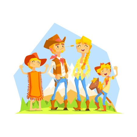 riding boot: Family Dressed As Cowboys With Mountain Landscape On Background. Cool Colorful Wild West Themed Vector Illustration In Stylized Geometric Cartoon Design Illustration