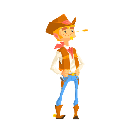 Man Dressed As Cowboy With A Straw In His Mouth. Cool Colorful Wild West Themed Vector Illustration In Stylized Geometric Cartoon Design