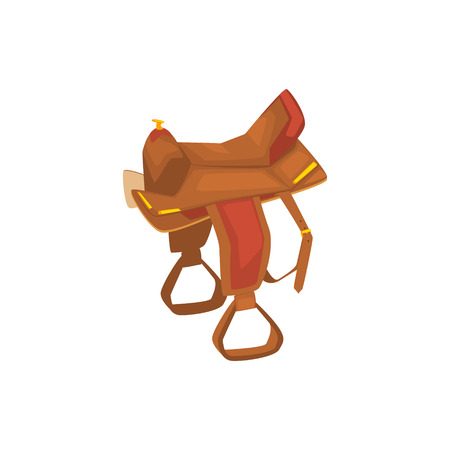 Leather Horse Saddle Drawing Isolated On White Background. Cool Colorful Wild West Themed Vector Illustration In Stylized Geometric Cartoon Design