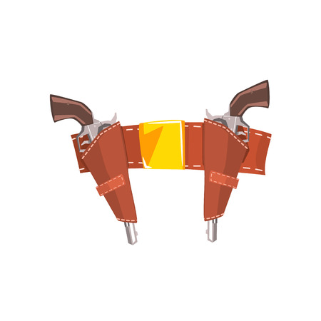 holster: Pair Of Pistols In Belt Holster Drawing Isolated On White Background. Cool Colorful Wild West Themed Vector Illustration In Stylized Geometric Cartoon Design