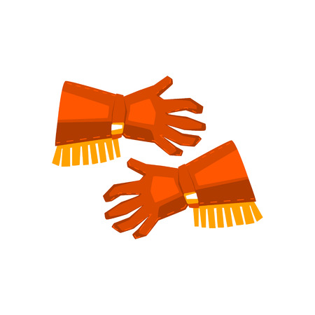 fringe: Cowboy Gloves With Fringe Drawing Isolated On White Background. Cool Colorful Wild West Themed Vector Illustration In Stylized Geometric Cartoon Design