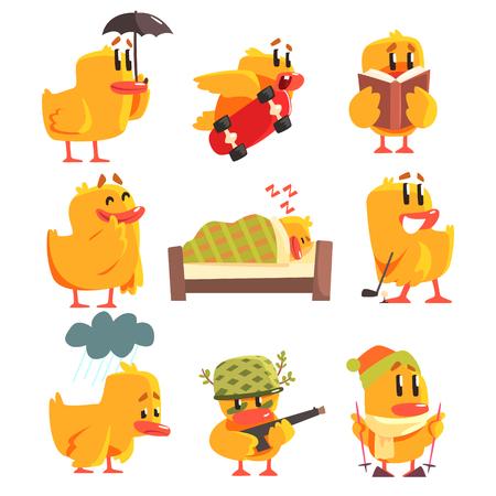 Eendje verschillende activiteiten verzameling van leuke Karakter Stickers. Little Duck grappige situaties Childish Cartoon grafische illustraties op een witte achtergrond.