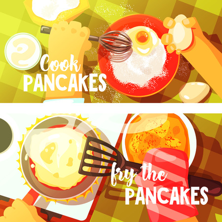 view from above: Pancakes Cooking Two Bright Color Illustrations.Hands Working On Food Preparation View From Above Drawing. Flat Cartoon Style Vector Image. Illustration