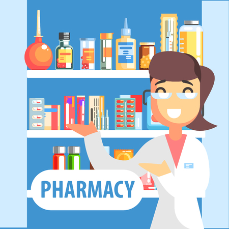 over the counter: Woman Pharmacist Demonstrating Drug Assortment On The Shelf Of Pharmacy.Cool Colorful Flat Vector Illustration In Stylized Geometric Cartoon Design Illustration