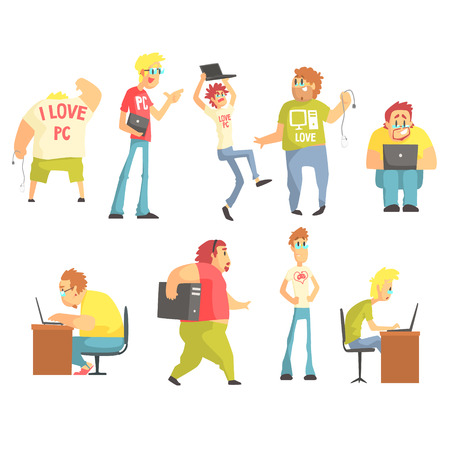 programmers: Professional Programmers Funny Characters Set Of Graphic Design Cool Geometric Style Isolated Drawings On White Background