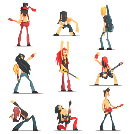 lead guitar: Rock Band Members Funny Characters Set Of Graphic Design Cool Geometric Style Isolated Drawings On White Background Illustration