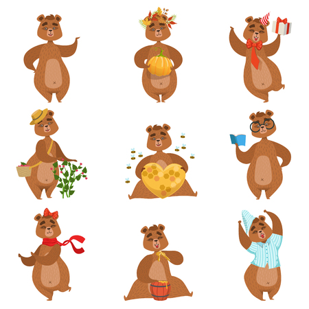 situations: Brown Bear Different Activities Set Of Girly Character Stickers. Humanized Animal In Funny Situations Childish Cartoon Cute Illustrations On White Background. Illustration