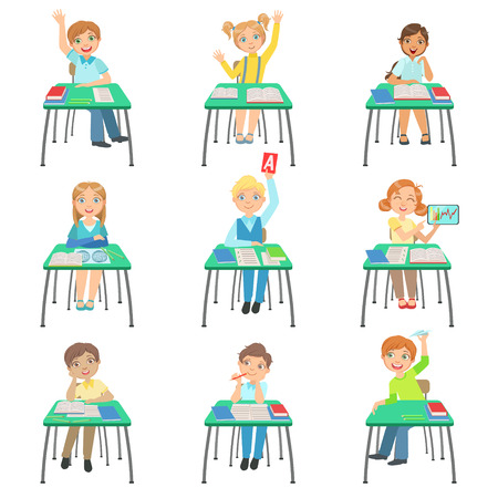 Children Sitting At School Desks In Class Set Of Simple Design Illustrations In Cute Fun Cartoon Style Isolated On White Background Illustration