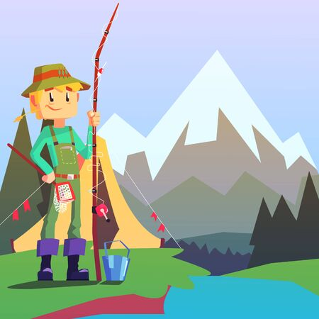 jumpsuit: Fisherman Camping With The Mountain Landscape On The Background. Cool Colorful Vector Illustration In Stylized Geometric Cartoon Design
