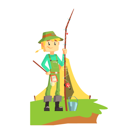 Fisherman Outdoors With Tent On The Background Cool Colorful Vector Illustration In Stylized Geometric Cartoon Design Illustration