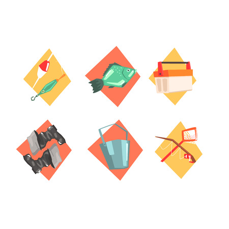 Fishing Kit Elements In Isolated Icons Cool Colorful Vector Illustration In Stylized Geometric Cartoon Design