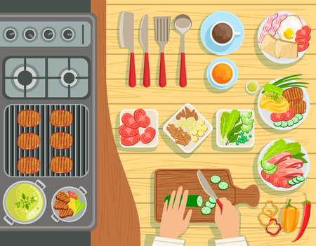 from above: Cafe Grill Cooking Process Elements Set View From Above. Colorful Illustration In Simple Style In Cartoon Flat Vector Design Illustration