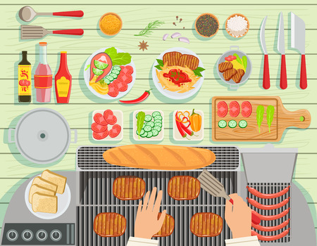 view from above: Grill Restaurant Cooking Table Elements Set View From Above. Colorful Illustration In Simple Style In Cartoon Flat Vector Design Illustration